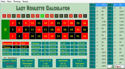 Программа Lazy Roulette Calculator